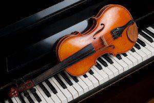 Violin and piano close up close up